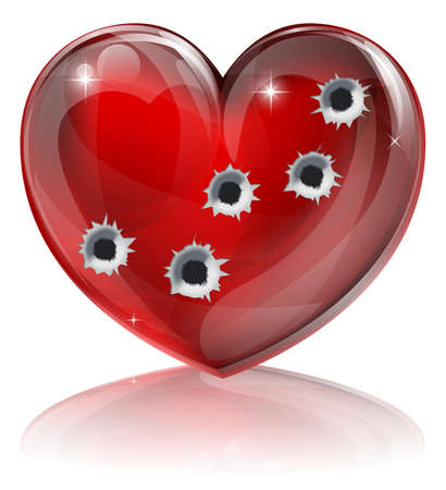 bullet icon: Bullet hole heart concept of a heart shaped icon with bullet holes. Concept for broken heart or other love or relationships issue concept. Illustration
