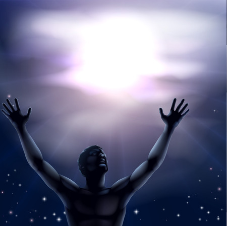 praise: Illustration of a man with a hands and arms raised up to the sky perhaps in praise