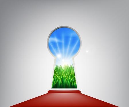 전원시의: 미래, 성공, 새로운 기회 또는 긍정적 인 변화를 나타내는 전원 잔디 필드와 열쇠 구멍 입구 일러스트