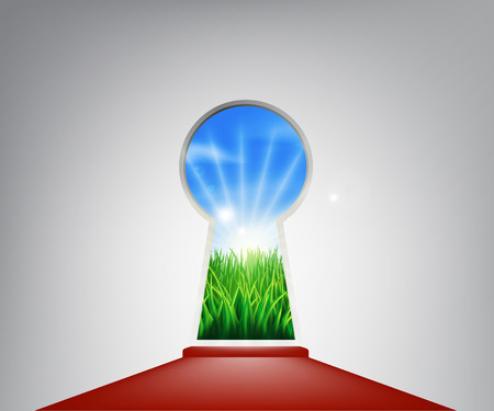 keyhole: Keyhole entrance with an idyllic grassy field representing the future, success, a new opportunity or positive change