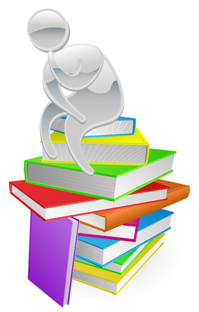 Concept illustration of a person thinking in thinker pose while sitting on a stack of books Vector