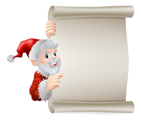 Cartoon Santa Christmas sign of cute cartoon Santa pointing sideways at a scroll poster sign Stock Vector - 23109824
