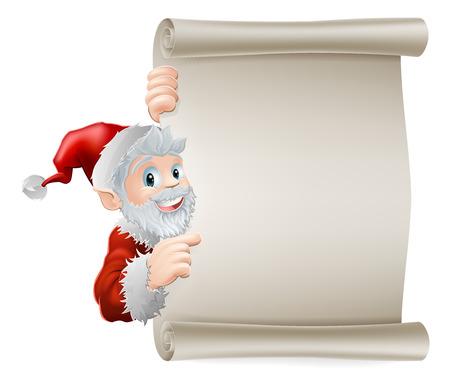 sideways: Cartoon Santa Christmas sign of cute cartoon Santa pointing sideways at a scroll poster sign