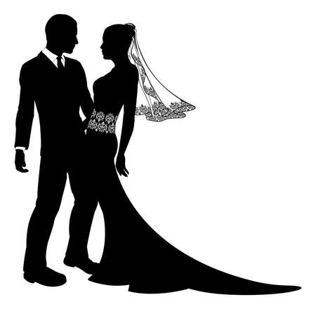 An illustration of a bride and groom wedding couple in silhouette with beautiful bridal dress with veil and lace abstract floral pattern.  Vector