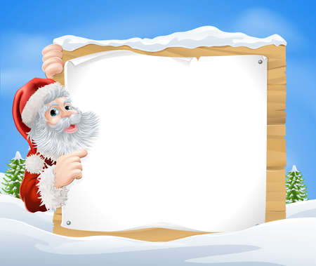 An illustration of a snow scene Christmas Santa sign with Santa Claus peeking round the sign and pointing in the middle of a winter landscape