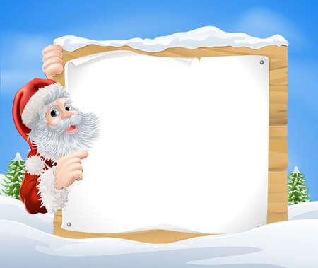 kerstmuts: Een illustratie van een sneeuw scene Christmas Santa bord met Santa Claus gluren rond de teken en wijst in het midden van een winterlandschap