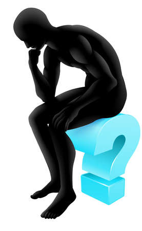 questioning: Silhouette Mann auf einem Fragezeichen-Symbol im Denken in Pose eines Denkers. Konzept f�r jede Befragung oder Psychologie, Poesie oder Philosophie. Illustration