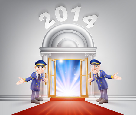 New Year Door 2014 concept of a doormen holding open a red carpet entrance to the new year with light streaming through it.  Vector
