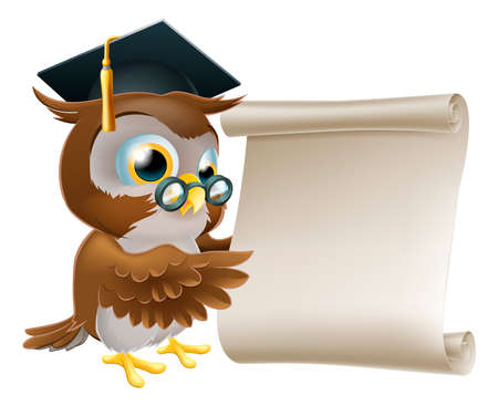 mortar board: Illustration of a cute owl character in professors or teachers mortar board pointing at a scroll document, perhaps a certificate, diploma or other qualification, or just an announcement. Illustration