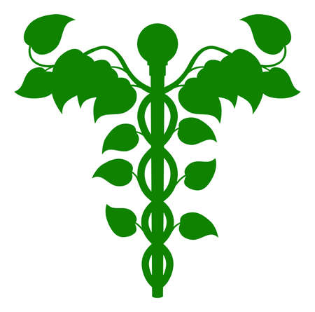 holistic: Illustration of a caduceus made up of leaves, DNA or holistic medicine concept