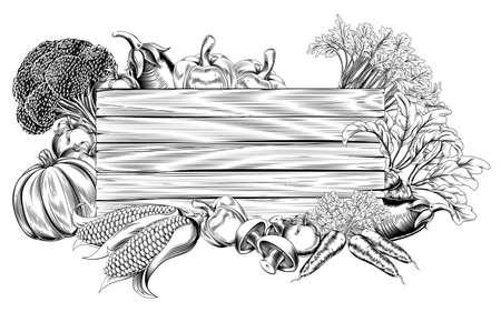 xilografia: Una impresión retro grabado de época o estilo de grabado de madera de verduras ilustración de la muestra Vectores