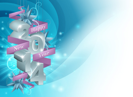 newyear: Illustration of a Happy New Year 2014 background in blue. Illustration framing copyspace.