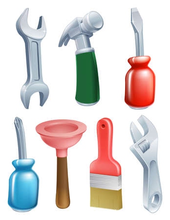 plummer: Cartoon tool icons set of a variety of work tools including a spanner, hammer, plunger, screwdriver and paintbrush Illustration