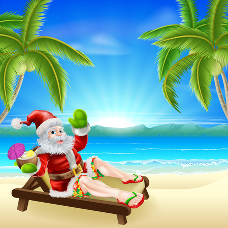 beaches: Christmas illustration of summer Santa relaxing in a sun lounger on the beach under a palm tree with a drink and wearing Bermuda or Hawaiian board shorts and flip flop sandals.