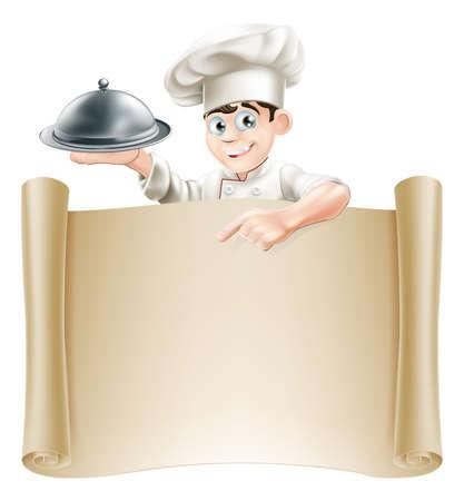 planche: Dessin d'un chef tenant un plateau d'argent ou cloche pointant sur un rouleau de papier ou le menu