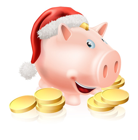 christmas savings: Cartoon Christmas piggy bank with Santa hat on and gold coins. Concept for saving money for Christmas or Christmas club fund.