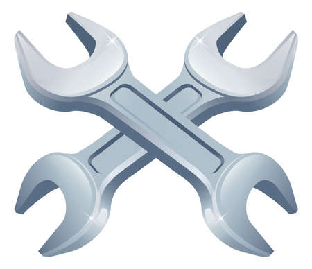 Crossed wrench spanners icon of cartoon tools crossed, construction or DIY or service concept Vector