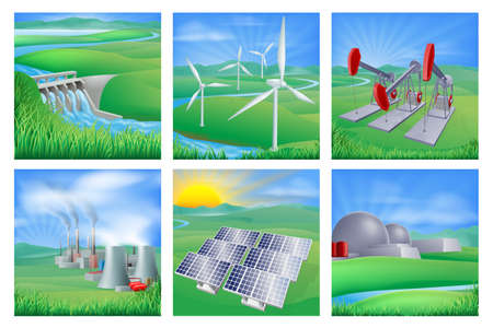 hydroelectricity: Illustrations of different types of power and energy generation including wind, solar,  hydro or water dam and other renewable or sustainable as well as fossil fuel and nuclear power plants. Also oil well pumpjacks
