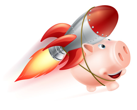 strapped: An illustration of a piggy bank with a rocket on his back flying through the air