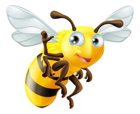 A cute cartoon bee mascot waving