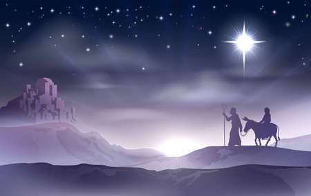 An illustration of Mary and Joseph in the dessert with a donkey on Christmas Eve searching for a place to stay. Bethlehem city in the background. Nativity story illustration. Vector