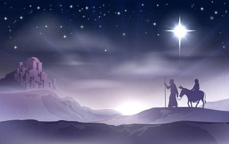 betlehem: Eine Darstellung von Maria und Joseph in der W�ste mit einem Esel an Heiligabend auf der Suche nach einem Ort zu bleiben. Bethlehem Stadt im Hintergrund. Nativity Story Illustration. Illustration