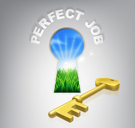 hapiness: The key to perfect job or career human resources concept of an idyllic sunrise over green fields seen through a keyhole with a golden key and perfect job sign over it.