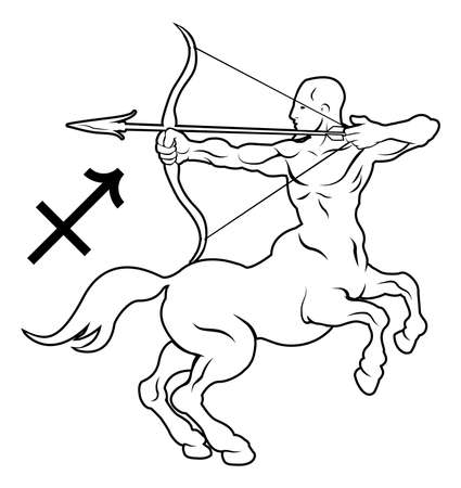 twelve: Illustration of Sagittarius the archer or centaur zodiac horoscope astrology sign