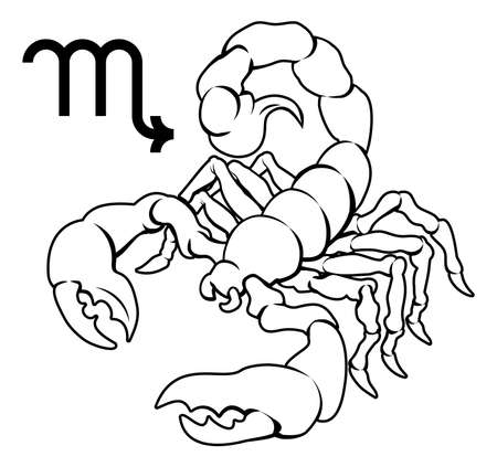 birth sign: Illustration of  Scorpio the scorpion zodiac horoscope astrology sign