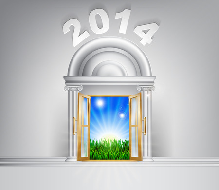 verdant: New Year 2014 door concept. A conceptual illustration for a happy verdant future of a door opening onto a field of lush green grass