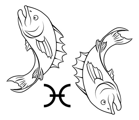 pisces star: Illustration of Pisces the fish zodiac horoscope astrology sign