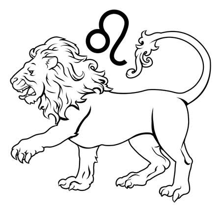 celestial: Illustration of Leo the lion zodiac horoscope astrology sign Illustration