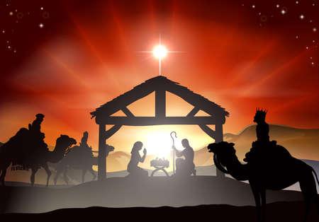 creche: Pesebre de Navidad con el ni�o Jes�s en el pesebre en la silueta, tres hombres sabios o reyes y estrella de Bel�n