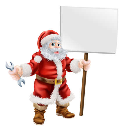 Cartoon illustration of Santa holding a spanner and sign, great for mechanic, plumber or hardware shop Christmas sale or promotion Vector
