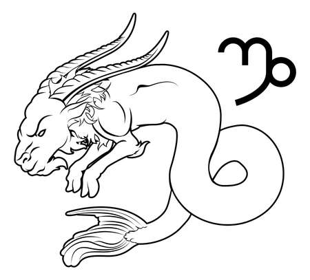 sea goat: Illustration of Capricorn the sea goat zodiac horoscope astrology sign Illustration