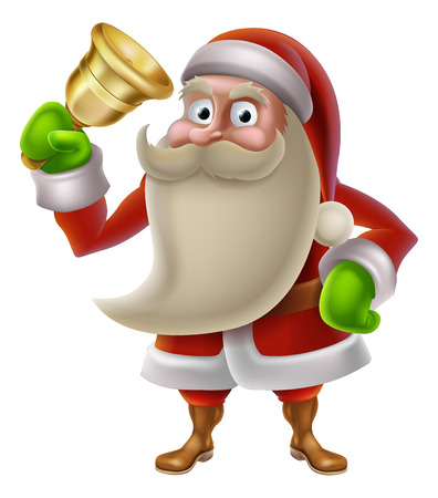 A Christmas illustration of cartoon Santa Claus ringing a golden bell Vector