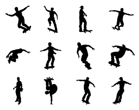 siloette: Very high quality and highly detailed skating skateboarder silhouette outlines. Skateboarders performing lots of tricks on their boards.