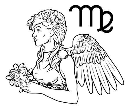 virgo the virgin: Illustration of Virgo the virgin zodiac horoscope astrology sign