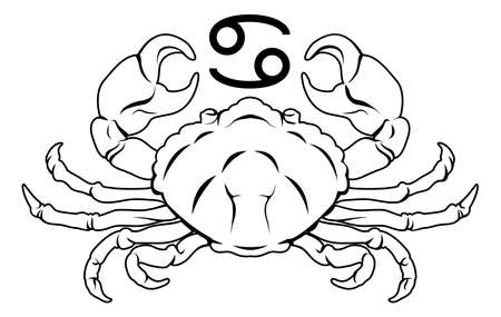 starsign: Illustration of Cancer the crab zodiac horoscope astrology sign
