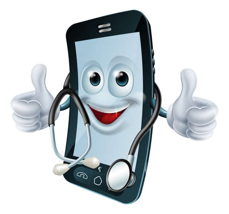 aplication: Cell phone man with a stethoscope round his neck giving a thumbs up  Health app concept