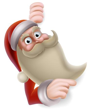 Cartoon Christmas illustration of Santa Claus pointing at a banner Stock Vector - 23662243