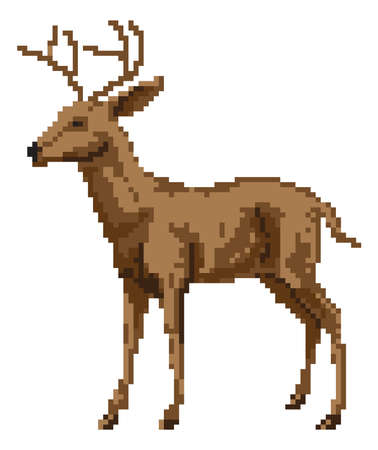 A pixel art style deer illustration of a buck or stag Vector