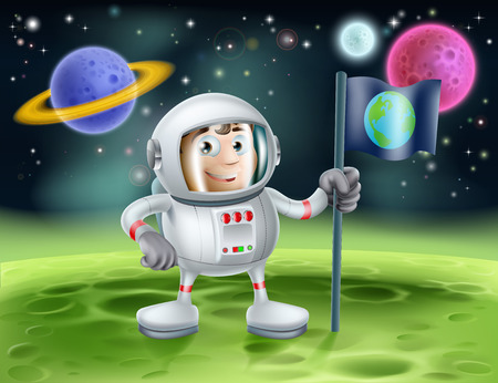 An illustration of an outer space cartoon background with a cute cartoon astronaut planting an earth flag on an alien world Vector