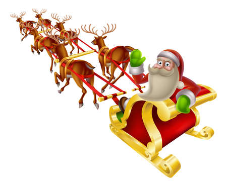 snow sled: Cartoon Santa in his Christmas sleigh waving back at the viewer