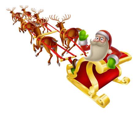 christmas sleigh: Cartoon Santa in his Christmas sleigh waving back at the viewer