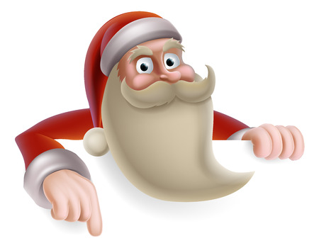 Cartoon Christmas illustration of cartoon Santa Claus pointing at a banner Vector