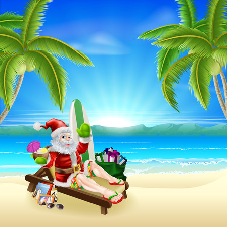 Santa Christmas illustration  Santa relaxing in on the beach under palm trees with surf board, presents sack and other holiday items with a tropical drink, wearing board shorts and flip flop sandals  Vector