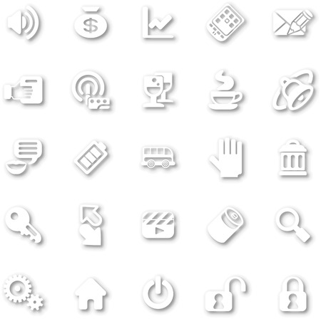 dropshadow: A white minimalist style cutout icon set with drop shadows for all your web and app needs Illustration