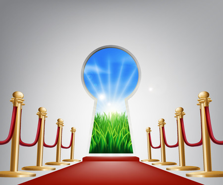 self improvement: A keyhole shaped door opening into a beautiful field representing the future, success, a new opportunity or positive change