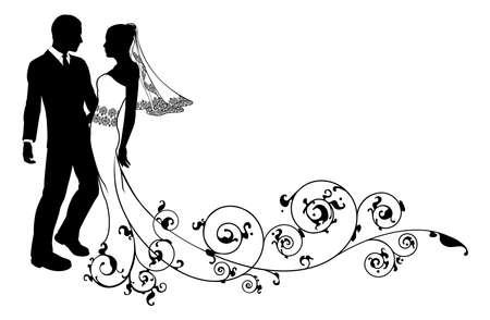 casamento: Noiva e noivo em seu casamento, talvez tendo primeira dança ou prestes a se beijar, com belo vestido de noiva e padrão floral abstrato trem. Ilustração